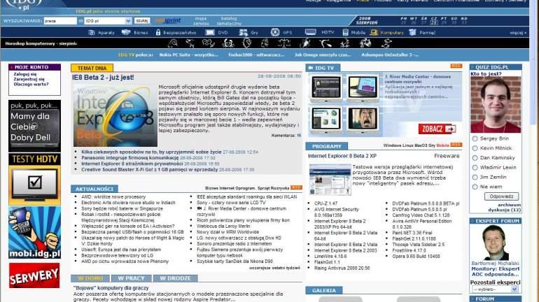 Internet Explorer 8 Beta 2 Vista PL Computerworld - Wiadomości IT, biznes IT, praca w IT ...