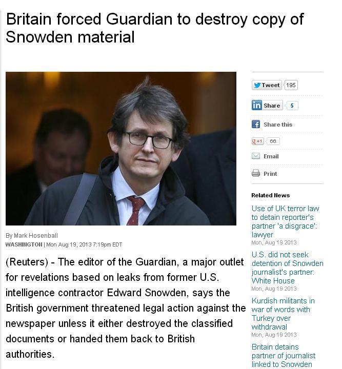 Tajne służby niszczą komputery brytyjskiego dziennika