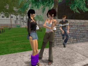Spotkanie na ulicy w Second Life. Copyright 2006, Linden Research, Inc. All Rights Reserved.