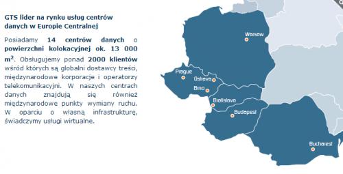 Sieć centrów danych GTS liczy 14 obiektów rozsianych na terenie Europy Centralnej.