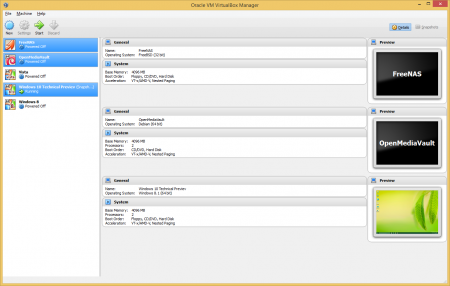 Aby uruchomić kilka maszyn w VirtualBoksie, wystarczy je zaznaczyć u użyć jednej funkcji