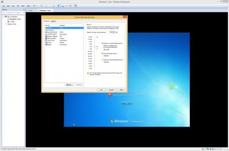 Okno zarządzania wirtualnym środowiskiem w VMware Workstation