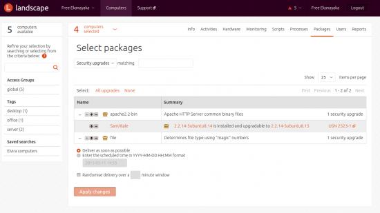 Zarządzanie pakietami i aktualizacjami oprogramowania w Ubuntu Landscape. Źródło: Free Ekanayaka, Package management at scale with Landscape, insights.ubuntu.com