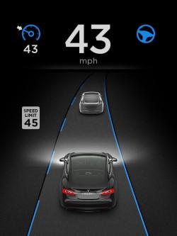 Panel autopilota w samochodzie Tesla S.