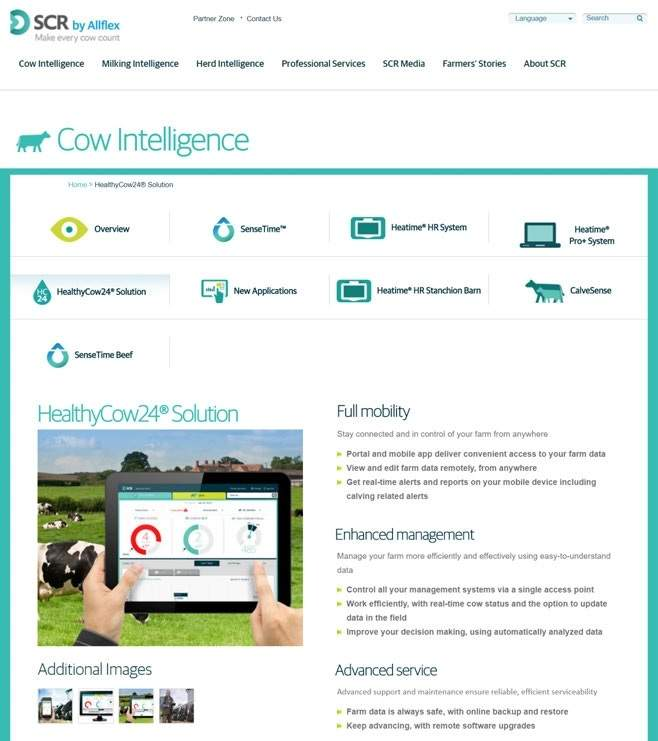 HealthyCow24 firmy SCR Dairy, system IoT z aplikacją, które dbają o stan zdrowia krów.