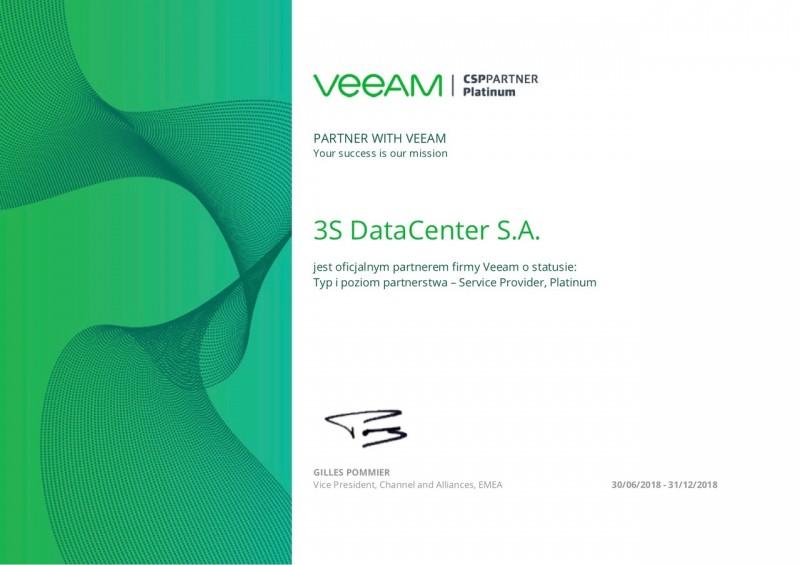 3S Data Center pierwszym w Polsce platynowym partnerem Veeam