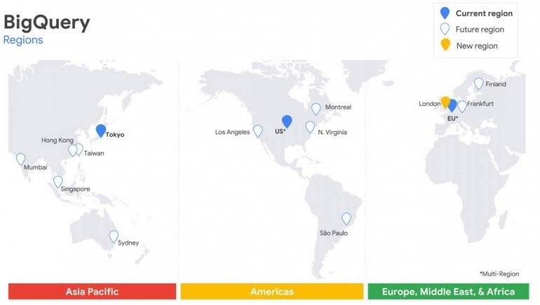 Regiony w których zainstalowane są hurtownie danych BigQuery. Źródło: Google.