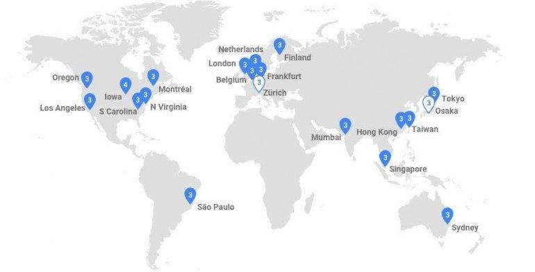 Infrastruktura Google w podziale na regiony, które użytkownicy mogą wybrać. Źródło: Google.