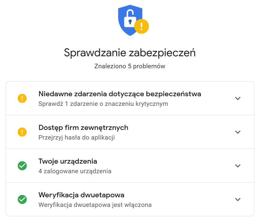 Sprawdzanie zabezpieczeń na koncie Google.
