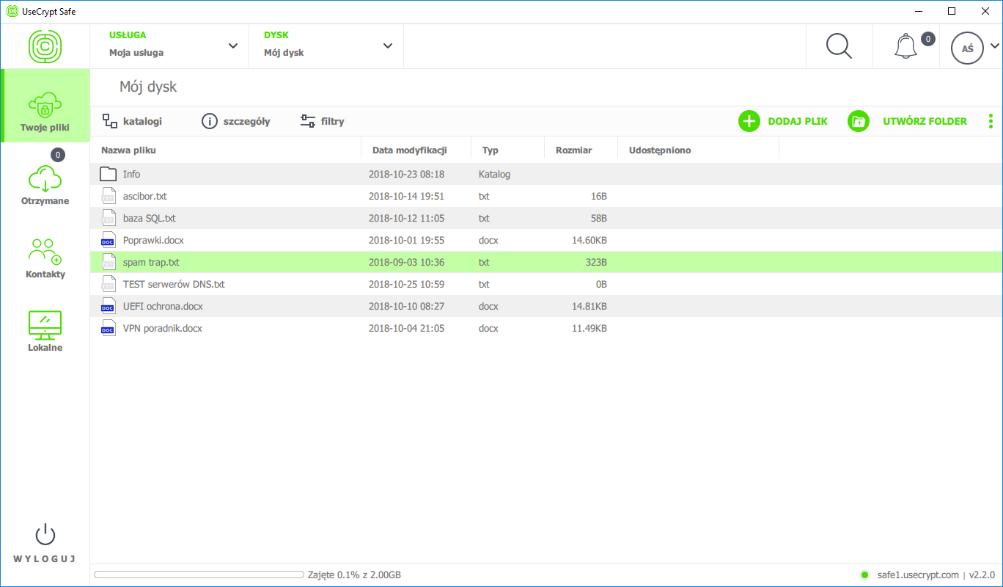 Pliki wprowadzone do aplikacji UseCrypt mogą znajdować się zarówno w chmurze, jak i na dysku lokalnym.