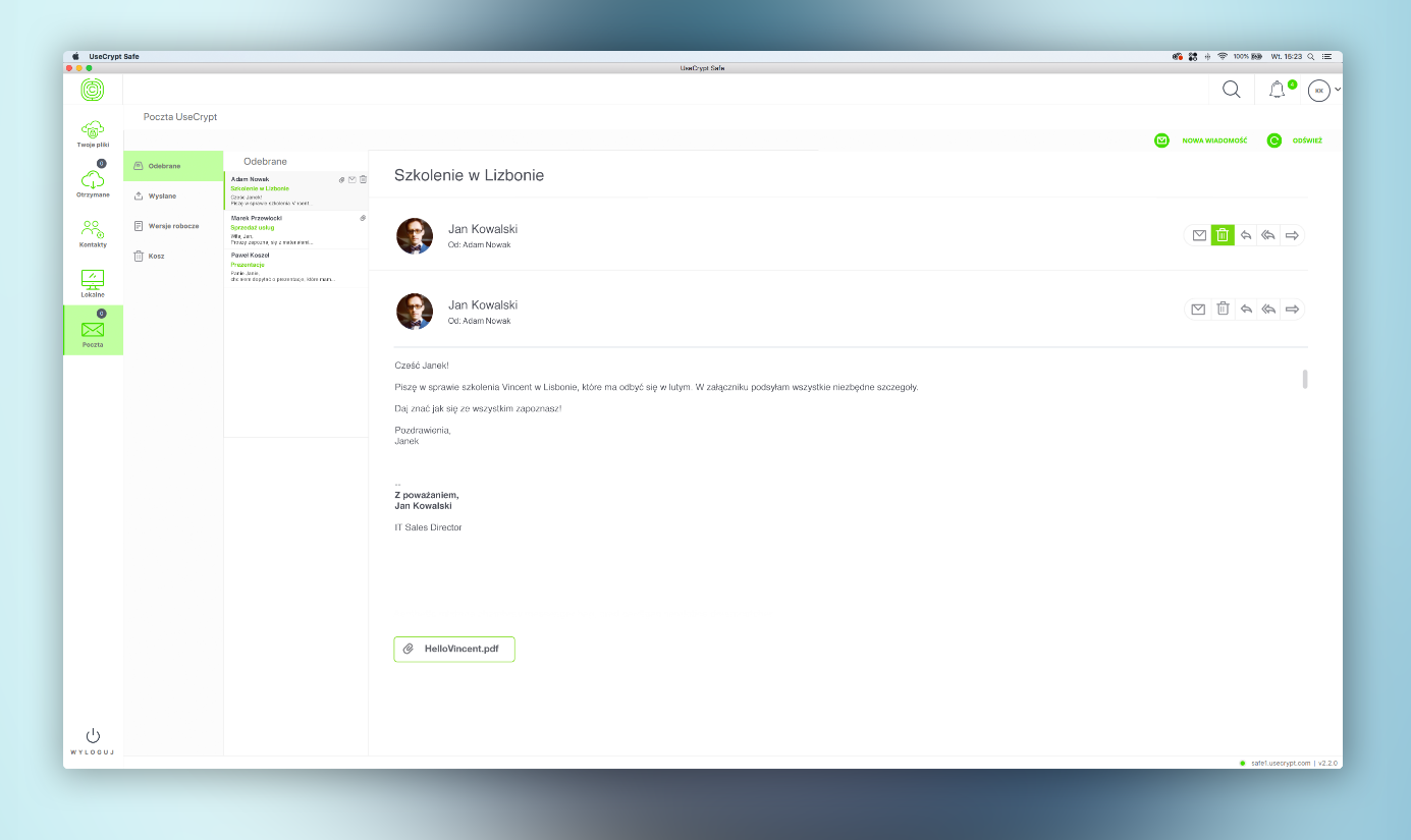 Od niedawna aplikacja UseCrypt Safe pozwala bezpiecznie wysłać e-maile i nie może to dziwić, że druga strona musi posiadać zainstalowane oprogramowanie. Producent zdradził nam, że w planach jest integracja z Outlookiem.