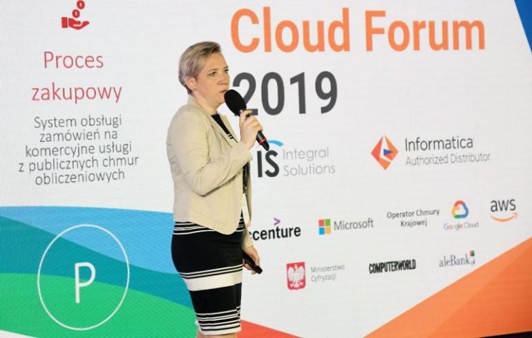 Joanna Baranowska, z-ca Dyrektora Departament Systemów Państwowych w Ministerstwie Cyfryzacji zaprezentowała program WIIP (Wspólna Infrastruktura Informatyczna Państwa) oraz perspektywy wykorzystania systemów chmurowych y w administracji publicznej. Źródło: Integral Solutions.